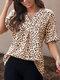 Leopard Print V-neck Loose Short Sleeve Women Blouse - Brown