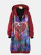 Vintage Heart Floral Printed Hooded Coat For Women - Wine Red