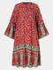 Floral Print O-neck Bell Sleeve Plus Size Bohemia Dress for Women - Wine Red
