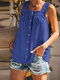 Solid Color Straps Sleeveless Button Pleated Tank Top - Blue