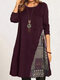 Women Vintage Patchwork Long Sleeve Casual Print Dress - Wine Red