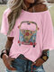 Casual Cartoon Printed O-neck Short Sleeve T-shirt For Women - Pink