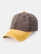 Unisex Washed Distressed Cotton Color-match Fashion Breathable Baseball Cap - Brown