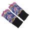 Women Vintage Ethnic Style Embroidery Flower Gloves Dance Warm Wrist Bracelet Accessories - Blue