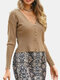 Solid Color Button V-neck Long Sleeve Casual Cardigan For Women - Khaki
