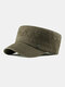 Men Cotton Linen Solid Color Label Stitching Outdoor Sunshade Casual Military Cap Flat Cap - Army Green