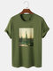 Mens 100% Cotton Cactus Plant Graphic 100% Cotton Casual Short Sleeve T-Shirts - Army Green
