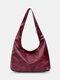 Women Vintage Large Capacity Anti-theft PU Leather Shoulder Bag Handbag Tote - Wine Red
