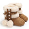 Baby Toddler Shoes Cute Lace-up Fluffy Ball Decor Comfy Plush Warm Soft Snow Boots - Dark Brown