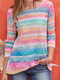 Colorful Striped O-neck Long Sleeve Casual Blouse - Pink