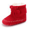 Baby Toddler Shoes Tassel Bowknot Decor Warm Plush Lining Soft Snow Boots - Red