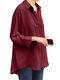 Lapel Solid Color Casual Plus Size Blouse for Women - Red