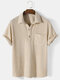 Mens Solid Color Waffle Casual Lapel Short Sleeve Henley Shirt - Beige