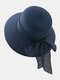 Women Straw Woven Solid Color Bowknot Decoration Outdoor Casual Sunshade Straw Hats - Blue