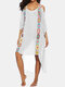 Embroidery Crochet Hollow Out Plus Size Beaches Holiday Blouse Dress - White