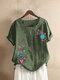 Floral Printed O-Neck Short Sleeve Button T-shirt For Women - Green