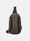 Casual Oxford Zipper Front Large Capacity Cloth Lightweight Waterproof Chest Bag - Dark Brown