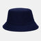 Unisex Fashion Casual Jelly Color Solid Poetable Sunscreen Outdoor Sun Hat Bucket Hat - Navy