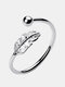 Elegant 925 Sterling Silver Leaf Rings Open Adjustable Feather Women Tail Ring - Silver