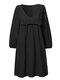 Solid Color Pleated Half Sleeve Short Casual Dress for Women - Black