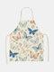 تنظيف بنمط الفراشة Colorful مآزر الطبخ المنزلي مريلة المطبخ للطبخ ارتداء مرايل الكبار من القطن والكتان - #09