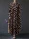 Leopard Print Patchwork Long Sleeve Plus Size Maxi Dress - Khaki