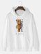 Mens Mechanical Bear Print Cotton Daily Drawstring Pullover Hoodie-7 Colors - White
