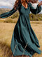 Solid Color V-neck Plus Size Dress for Women - Blue