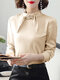 Solid Color Pearl Knotted Collar Long Sleeve Elegant Shirt - Apricot