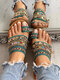Women Bohemian Ethnic Style Holiday Beach Cloth Clip Toe Slippers - Green