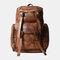 Men PU Leather Vintage Solid Multi-pocket Travel Bag Backpack - Brown