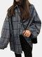 بلوزات كاجوال بأكمام طويلة وأزرار منقوشة للنساء - أزرق