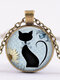 Vintage Geometric Glass Printed Women Necklace Cute Cartoon Cat Sweater Chain Clavicle Chain - #02