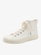 Women White Stitching High Top Lace Up Canvas Shoes - White
