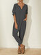 Solid Color Long Sleeve Notched Collar Pocket Loose Jumpsuit For Women - Grey