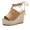 LOSTISY Peep Toe Solid Color Lace Up Casual Espadrilles Wedges Sandals - Brown