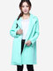 Space Cotton Outerwear Green Long Sleeve Cardigan Coat - Green
