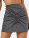 Solid Color Plain Knotted Casual Short Skirt for Women - Silver