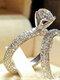 Trendy Geometric Metal Diamond Rings Temperament Rhinestone Rings - #02