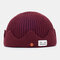 Men & Women Knitted Hat Autumn And Winter Woolen Melon Leather Hat Warm Men And Women Hats Skull Caps - Wine Red