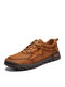 Men Comfy Hand Stitching Microfiber Leather Non Slip Soft Lace Up Casual Shoes - Brown