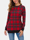 Plaid Print O-neck Long Sleeve Plus Size Casual Blouse for Women - #07