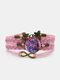 Vintage Purple Cat Pattern Print Butterfly Braided Gemstone Multi-layer Bracelet - Pink