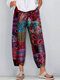 Vintage Ethnic Style Floral Print Plus Size Casual Pants - Red