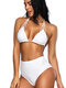 Halter High Waist Triangle Drawstring Backless Sexy Bikinis Swimsuits For Women - White