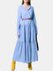 Solid Color Pleated V-neck Long Sleeve Casual Dress for Women - Blue