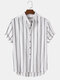 Mens Stripe Curved Hem Short Sleeve 100% Cotton Casual Henley Shirts - White
