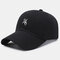 Unisex Cotton Embroidery Astronaut Pattern Sunscreen Casual Couple Hat Baseball Hat - Black