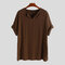 Mens Casual Medieval Style V Neck Mid-Long Short Sleeve T-Shirts - Brown
