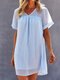 Holiday Short Sleeve Solid Color V-neck Women Casual Dress - Blue